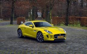 Картинка gold, jaguar, coupe, f-type
