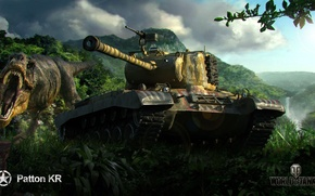 Картинка техника, танки, мир танков, World of Tanks, M46 Patton KR, камуфляж. динозавр