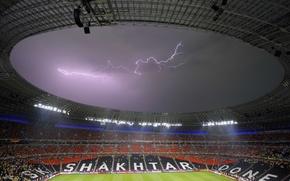 Картинка футбол, молния, стадион, Донецк, Шахтер, Донбасс Арена, EURO 2012, Donetsk, Donbass Arena