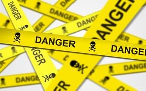Картинка опасность, предупреждение, череп, кости, лента, danger