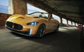 Картинка Maserati, Желтый, Спорт, Кабриолет, Мазерати, Car, Front, GranTurismo, Перед, Yellow, Sport, Convertible, Кар, Гран Туризмо