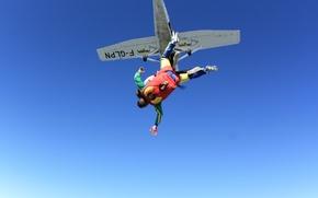 Картинка небо, самолет, парашют, контейнер, парашютисты, tandem, экстремальный спорт, парашютизм