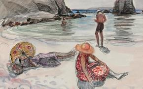 Картинка море, пейзаж, люди, скалы, отдых, берег, рисунок, картина, жанровая, Анри Лебаск, The Isle of Crozon, …