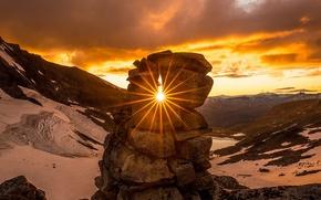 Картинка закат, горы, Норвегия, национальный парк, Йотунхеймен