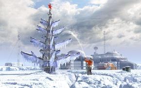 Картинка елка, база, струя, вездеход, полярник