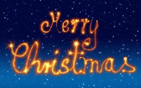 Картинка зима, небо, оранжевый, синий, огни, стиль, сияние, буквы, фон, праздник, голубой, графика, блеск, новый год, …