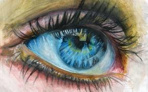 Картинка ресницы, отражение, живопись, детский глаз