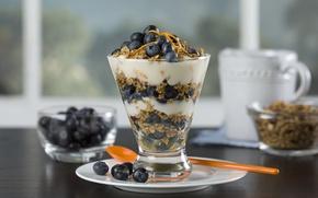 Обои cream, десерт, dessert, fruits, черника, фрукты, blueberries, крем, еда, завтрак мюсли, muesli, breakfast