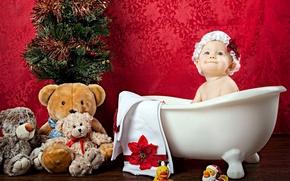 Картинка игрушка, девочка, ванна, ёлка, чепчик, малышка, ребёнок, плюшевый мишка, уточки