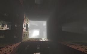 Картинка лучи, свет, туман, фрактал, губка Менгера