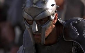 Обои Взгляд, Доспехи, Воин, Шлем, Актер, Кино, Боец, Мужчина, Фильм, Gladiator, Wallpaper, Максимус, Рассел Кроу, Knight, ...