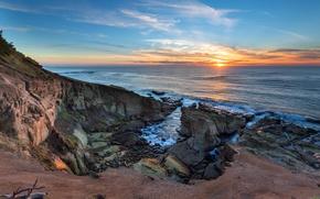 Обои океан, рассвет, пляж, побережье, Oregon Coast