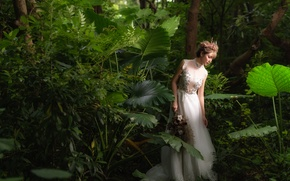 Картинка лес, лицо, платье, прогулка, азиатка