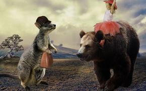 Картинка радость, настроение, ситуация, медведь, кенгуру, девочка