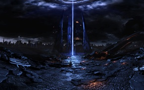 Картинка mass effect, art, fan, Reaper, space ship, pano, Harbinger