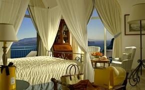 Картинка кровать, номер, кресла, столик, гостиница, балдахин, светильники