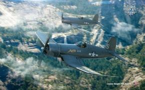 Обои arcade, самолет, аркада, Persha Studia, Wargaming.net, Chance-Vought F4U-4 Corsair, авиа, Мир самолётов, BigWorld, aviation, plane, ...