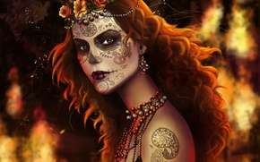 Обои Muertos, рыжие волосы, девушка, раскрас, лицо, украшения, тату, арт, бусы, взгляд
