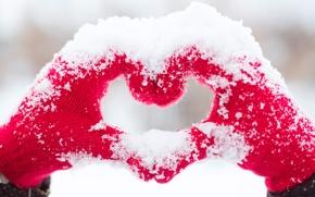 Картинка любовь, сердце, love, heart, snow, romantic, hands