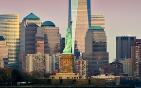 Обои небоскреб, США, статуя Свободы, дома, Нью-Йорк, Манхэттен