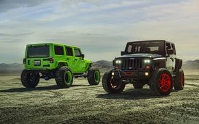 Картинка Green, Black, Forged, Custom, Wrangler, Jeep, Wheels, Track, ADV1, Function