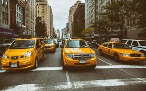 Обои Manhattan, New York City, street, Taxi