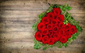 Обои love, heart, romantic, roses, red, flowers, любовь