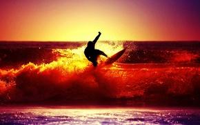 Картинка море, волны, небо, солнце, закат, брызги, река, фон, обои, настроения, спорт, человек, силуэт, серфинг, мужчина, ...