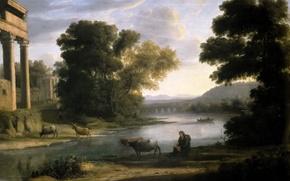 Картинка животные, река, картина, Клод Лоррен, Пейзаж с Пастухом