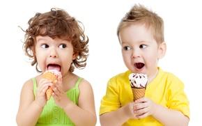 Картинка дети, мальчик, маленькие, мороженое, девочка, children, kid, Ice cream