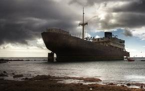 Обои корабль, бедствие, вода, океан, крушение, судно