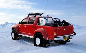 Картинка зима, снег, лыжи, северный полюс, red, Toyota, north pole, hilux, arctic trucks