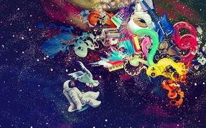 Картинка music, colorful, space, blood, bird, texture, Graffiti, Guitar, stars, amazing, eye, paint, Astronaut, handmade, Imagination