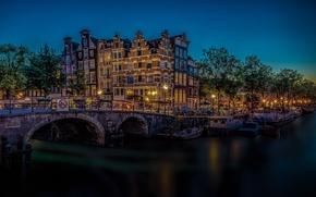 Картинка мост, здания, Амстердам, канал, Нидерланды, ночной город, Amsterdam, Netherlands, Brewers' Canal, Канал Пивоваров, Brouwersgracht