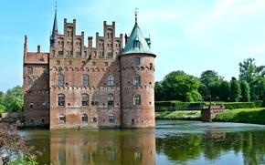 Картинка деревья, мост, пруд, замок, Дания, кусты, Egeskov