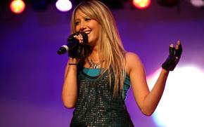 Картинка улыбка, блондинка, микрофон, певица, Ashley Tisdale