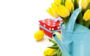 Картинка цветы, яйца, букет, тюльпаны, Easter, пасхальные