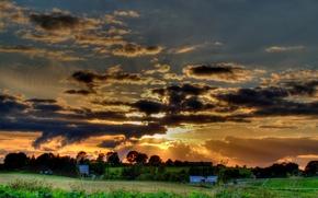 Обои деревня, солнце, HDR, облака