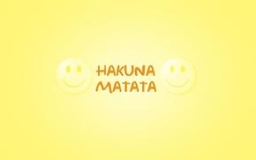 Картинка минимализм, слова, желтый фон, smile, Король Лев, смайлики, The Lion King, Timon & Pumbaa, фраза …