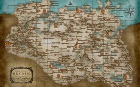 Картинка карта, the elder scrolls, skyrim, скайрим, tes