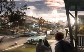 Картинка машины, взрыв, город, люди, улица, дома, concept, атомный взрыв, fallout, паника, concept art, Bethesda Softworks, ...