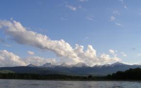 Картинка вода, деревья, река, облока, енисей, тыва