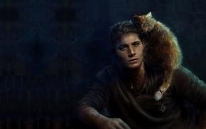 Картинка кот, Supernatural, Сверхъестественное, cat, Дженсен Эклз, Dean Winchester, Дин Винчестер