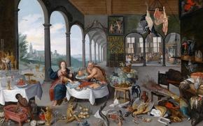 Картинка картина, жанровая, Ян Брейгель младший, Вкус, Аллегория Пяти Чувств