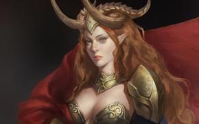 Обои взгляд, рыжие волосы, девушка, арт, броня, доспехи, рога