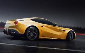Обои ferrari, f12, berlinetta, rear, yellow, sun, nigth, road, rain
