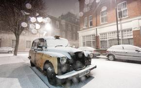Обои холод, зима, иней, машина, белый, свет, снег, деревья, машины, снежинки, города, дерево, bmw, англия, дома, ...
