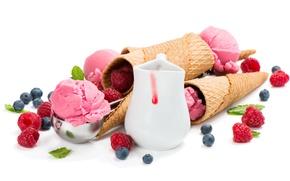 Картинка ягоды, малина, черника, мороженое, сладкое, вафля, blueberry, raspberry, Ice cream, Sweets