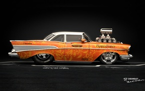 Картинка Car, American Muscle, Hod Rod, Chevrolet Bel Air 57