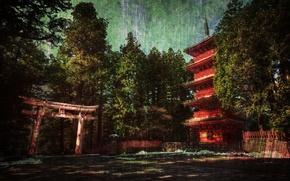 Обои дом, лес, япония
